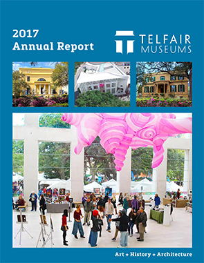 Telfair Museums is hiring for a Graphic Designer. This is the cover of our Annual Report, which is created by a Graphic Designer.