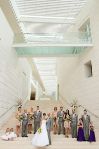 Wedding party on the stairs at the Jepson Center, Savannah