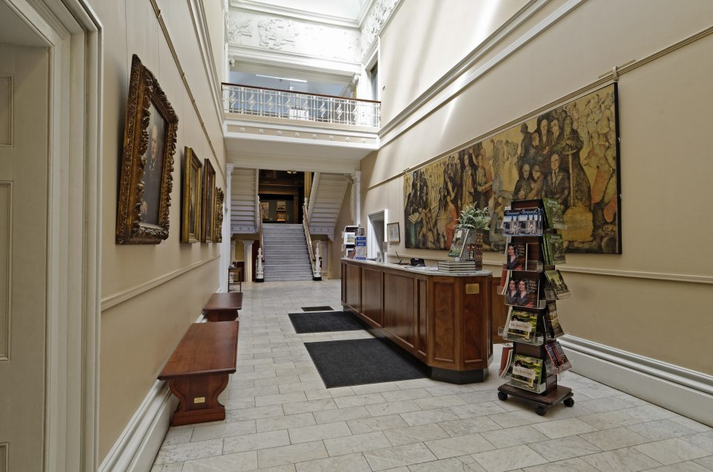 Entrance hallway and view of second floor at Telfair Academy in Savannah