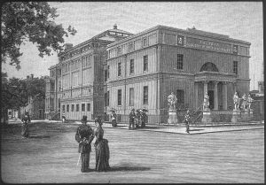 drawing of people in victorian clothing standing in front of the Telfair Academy