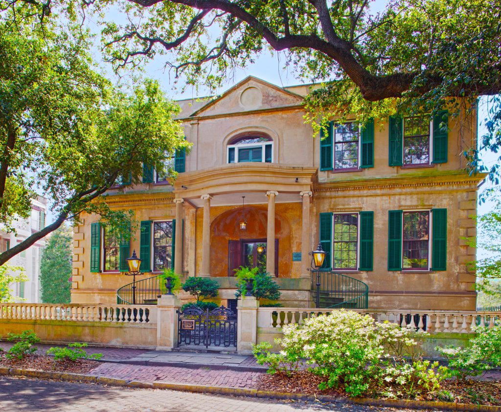 View of the front of Telfair Museums' Owens-Thomas House in Savannah, GA