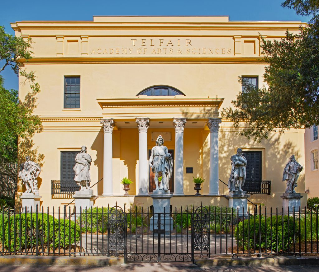 Facade of Telfair Academy featuring five sculptures
