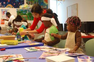 Children in the drop-in studio at Telfair Museums' Jepson Center