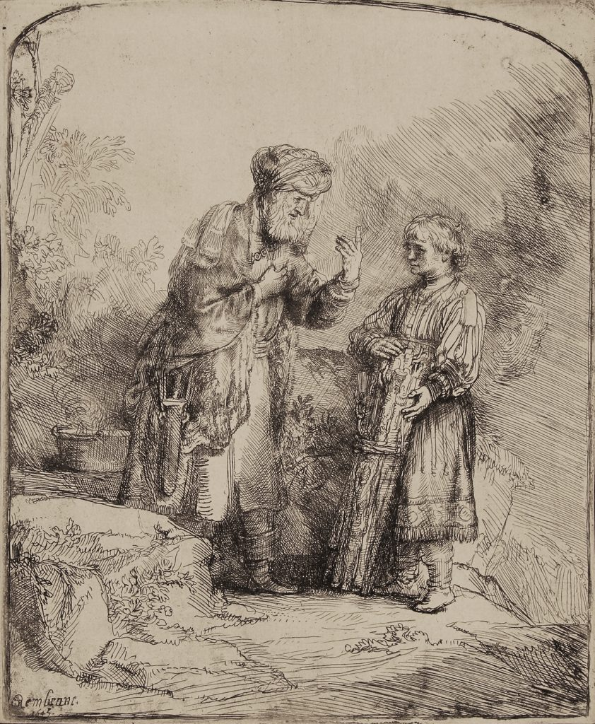 Rembrandt's etching and drypoint on laid paper titled
